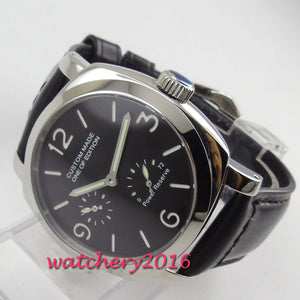 2019 New Arrive 44mm PARNIS Black Dial Power reserve Top Brand Luxury Stainless steel Case Automatic Movement men's Wristwatch