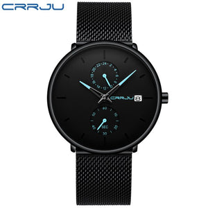 Men Watch CRRJU Top Brand Waterproof Quartz Wrist Watches Mens Stainless Steel Sports Male Clock Date Relogio Masculino