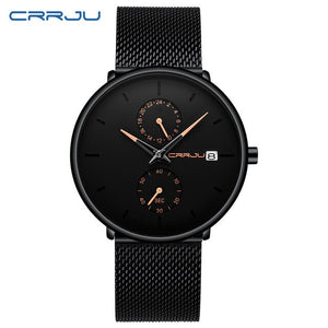 CRRJU New Fashion Ultra-thin Mens Watch Top Brand Luxury Quartz Watches Men Casual Business Waterproof Sport Relogios Masculino