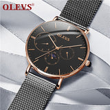OLEVS Ultra-thin Men Watch Male Leather Moon Phase Quartz Watches Mens Luxury Brand Waterproof Business Clock Relogio Masculino