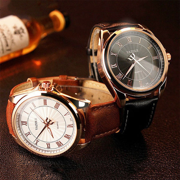 High Quality Men'S Business Quartz Watch Simulation Leather Strap Stainless Steel Buckle Coated Glass Mirror  Men'S Watch