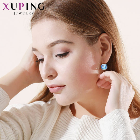 11.11 Xuping Luxury Rhodium Color Plated Earrings Valentine's Crystals from Swarovski Colorful for Women Gifts M47/48/49-XE2115