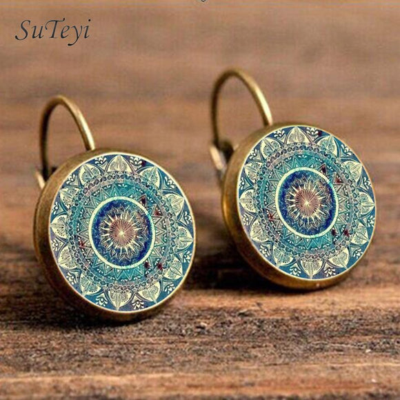 SUTEYI Charm Mandala Art Picture Earrings Henna Crystal Earring Yoga Om Symbol Zen Buddhism Glass Earrings For Women Jewellery