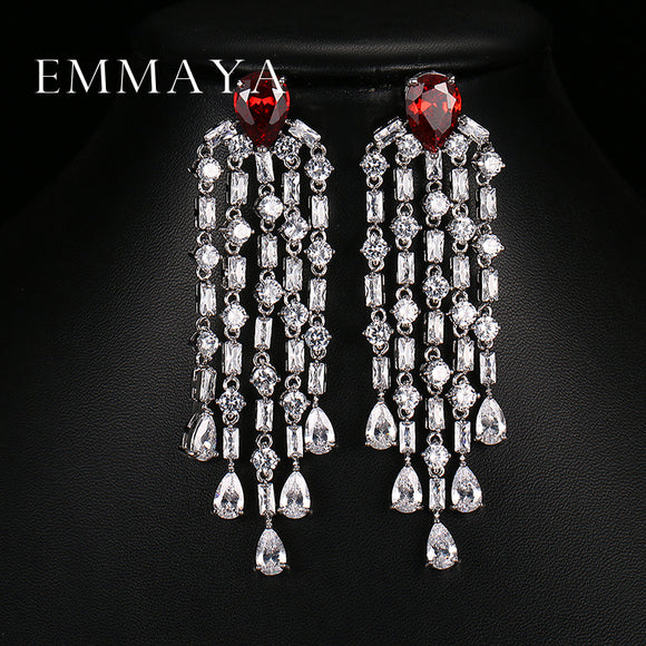 Emmaya Luxury Red Green Clear Blue Long Earrings For Women Wedding Party Drop AAA Clear Cubic Zirconia Tassel Dangle Earrings