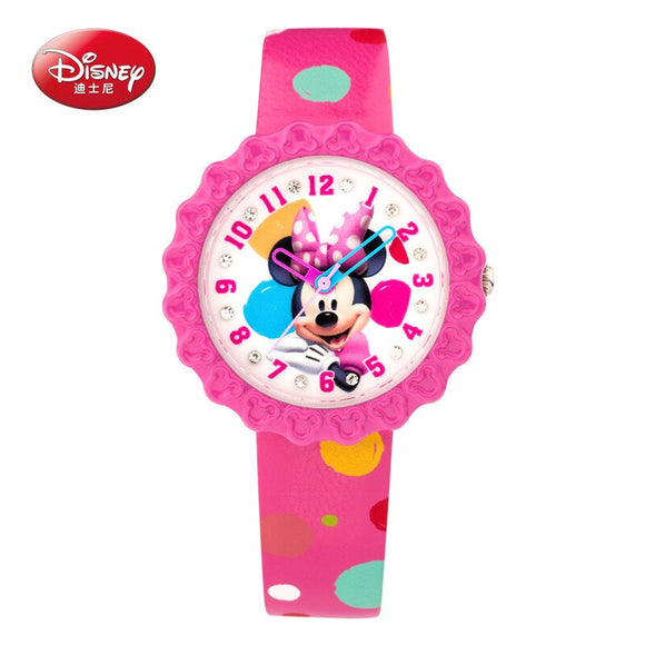 Disney brand original Gift box Genuine leather quartz watches children for girls students cartoon mickey mouse waterproof