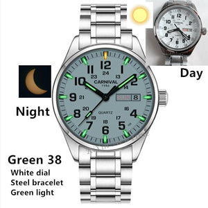 Carnival Tritium Light men Watch Quartz Double calendar Date Tritium Luminous Waterproof 200M Military diving Watches sapphire