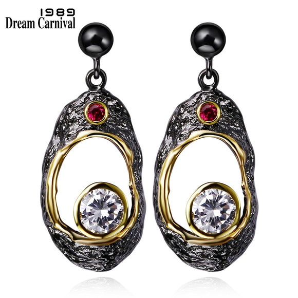 DreamCarnival 1989 Vintage Zircon Earrings for Women Gothic Big Black Gold Color Fruit Shape Hollow Pendientes brinco Wholesales