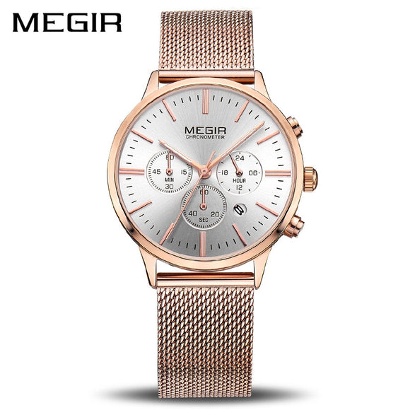 MEGIR Women Watch Fashion Luminous Leather Quartz Ladies Wrist Watch Clock Montre Femme for Female Lovers