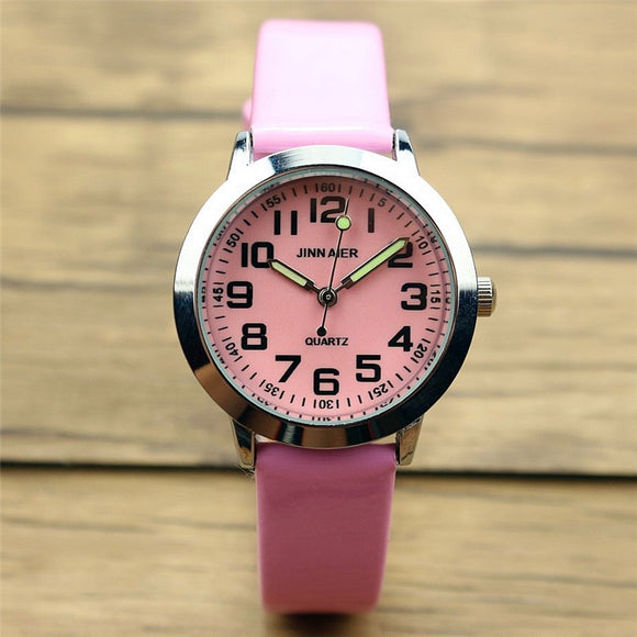 Nazeyt children lovely 7 colors dial leather watch little boys and girls luminous hands gift clock Reloj de cuarzo free shipping