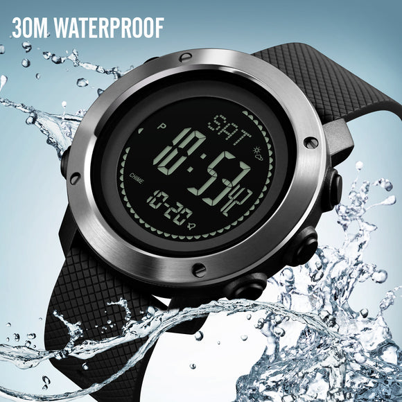 Men Digital Sports Watches with Compass Pedometer Altimeter Barometer Military Waterproof Wristwatch with Leather Band