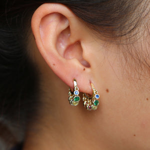 rainbow cz dangling charm earring Gold color various colored cubic zirconia round dots elegance fashion women mini hoop earrings