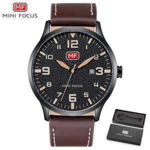 MINIFOCUS Luxury Brand Men's Wristwatch Quartz Wrist Watch Men Waterproof Brown Leather Strap Fashion Watches Relogio Masculino