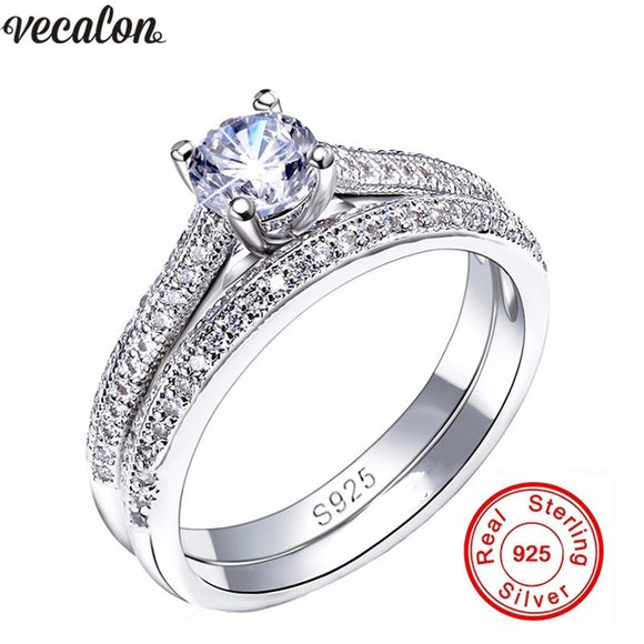 Vecalon 3 colors Couple Anniversary ring 5A Zircon Cz 925 sterling silver Engagement wedding Band rings for women Bridal Jewelry