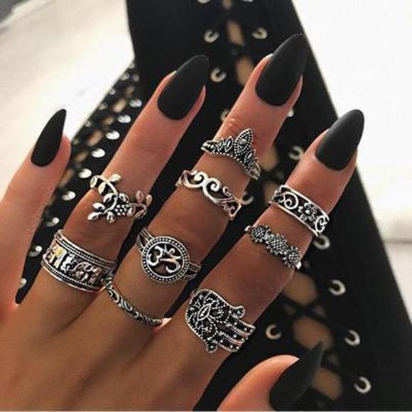 Tocona 9pcs/set Boho Midi Finger Rings Set for Women Punk Elephant Flower Hollow Out Sliver Knuckle Rings Jewelry Gift 4618