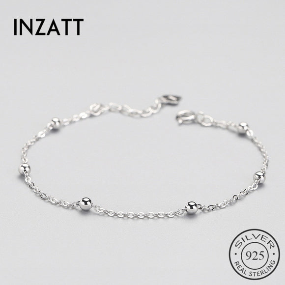 INZATT Real 925 Sterling Silver Spacer Bead Chain Bracelet Minimalist Fine Jewelry For Women Birthday Party Accessories Gift