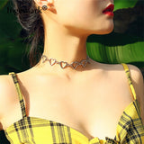 Ingemark Korean Sweet Love Heart Choker Necklace Statement Girlfriend Gift Cute Gold Silver Necklace Jewelry Collier Femme 2018