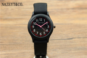 promotion midlle and little student black nylon strap quartz watch boys and girls color hands gift watch child sports army clock