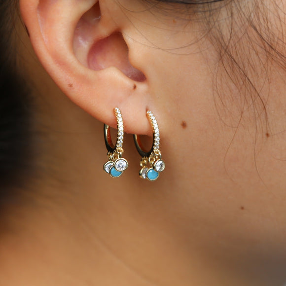 2018 white cz blule turquoises simple geometric trendy classic sweet girl women fashion jewelry earring
