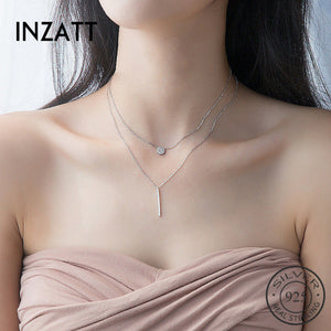 INZATT Real 925 Sterling Silver Elegant Double Layer Geometric Pendant Necklace Fine Jewelry For Women Wedding Party Bijoux