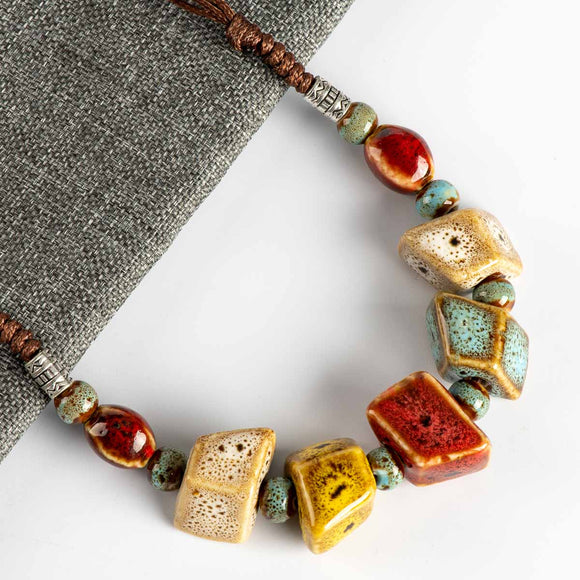 Colorful Irregular shape Ceramic Beads Neckalce artware Antique silver wholesale Necklaces & Pendants For women #FY567