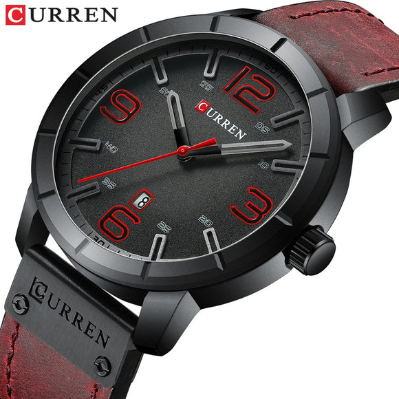 Men's Quartz Wristwatches Male Clock Luxury Reloj Hombres Leather Wrist Watches with Calendar