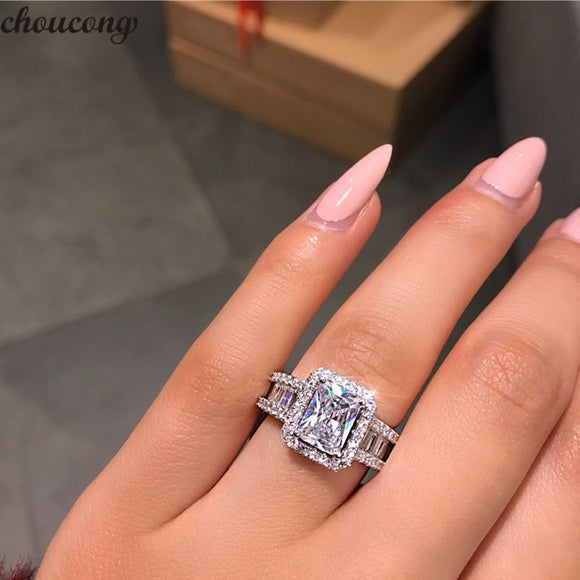 choucong Court Promise Ring 925 sterling Silver 3ct 5A Zircon cz Engagement Wedding Band Rings For Women Evening Party Jewelry