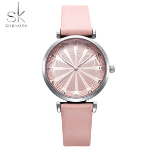 SHENGKE Ladies Watch Stainless Steel Mesh Strap Japan Quartz Movement Waterproof Watches for Women Reloj de Mujer
