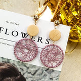2019 Fashion Luxury Simple Big Round Earrings Women Fashion Korean Style Hollow Mesh Drop Earrings Statement Jewelry 1E283
