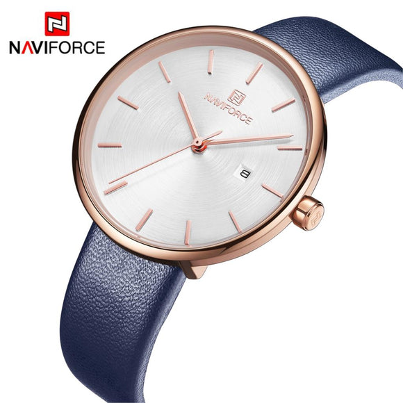 Women's Quartz Leather and Alloy Fashion Watches, Blue, Waterproof, Date, Color: Rose Gold-Toned