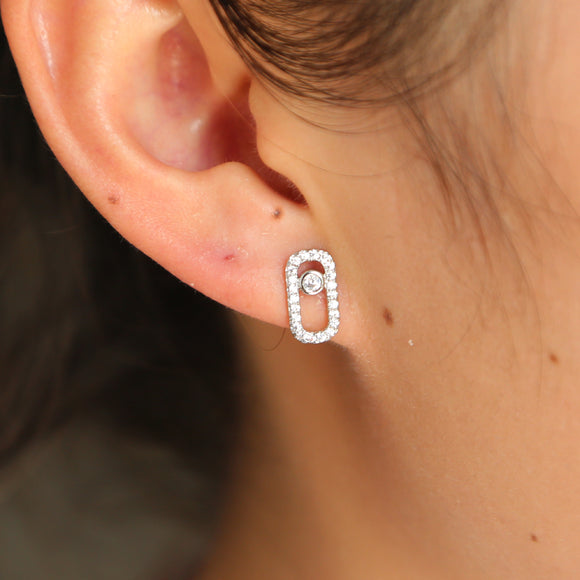2018 France Jewelry Authentic 925 Sterling Silver dainty 1pc zircon cute Earrings For Women European fashion delicate mini earr
