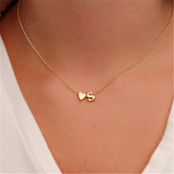 Fashion Tiny Heart Dainty Initial Personalized Letter Name Choker Necklace for Women Gold Color Pendant Jewelry Gift Accessories