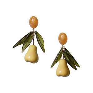 New European and American Baroque gourd long leaves exaggerated earrings star with the same party luxury earrings 1104