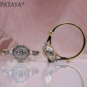PATAYA New 585 Rose Gold Lovely Carved Natural Zircon Rings Women Fashion Jewelry Wedding Fine Craft Hollow Round White Ring