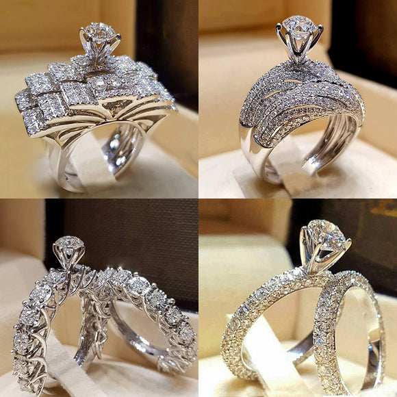 2Pcs Bridal Set Elegant rings for Women Sliver Color Wedding Engagement fashion Jewelry With Full Shiny Cubiz Zircon female ring