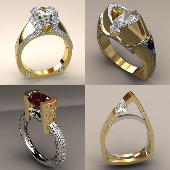 Vintage Female Zircon Stone Ring Unique Style Crystal Silver Gold Color Wedding Ring Promise Engagement Rings For Women