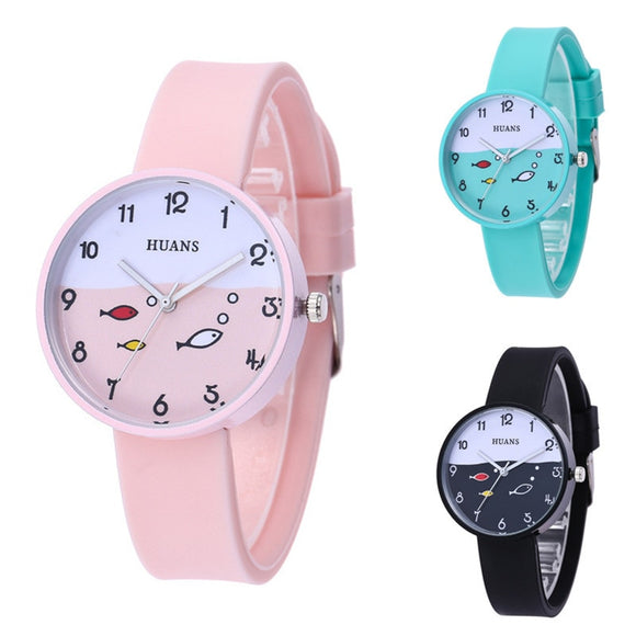 Famous brand New listing children's watch for girls boys gift clock silicone quartz watches kids Fashion cute cartoon fish watch