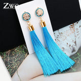 ZWC Vintage Ethnic Long Tassel Drop Earrings for Women Lady Fashion Bohemian Statement Fringe Dangle Women Earring 2019 Jewelry