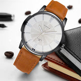 YAZOLE 332 Men Watches Luxury Famous Male Clock Quartz Watch Brown Leather Wrist Watch