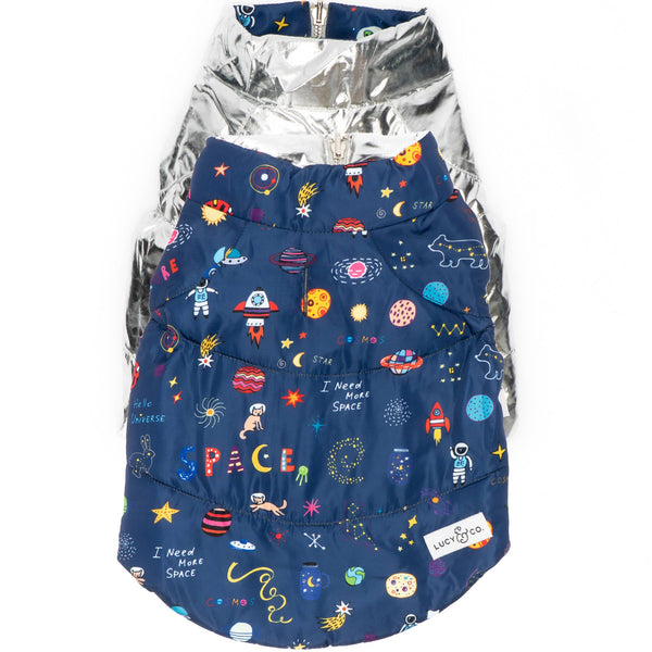 Space Doodle Reversible Dog Puffer Vest