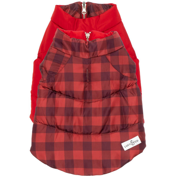 Holly Jolly Reversible Dog Puffer Vest