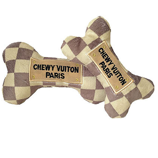Chewy Vuiton Paris Plush Dog Bone Toy - Lola & Penelope's