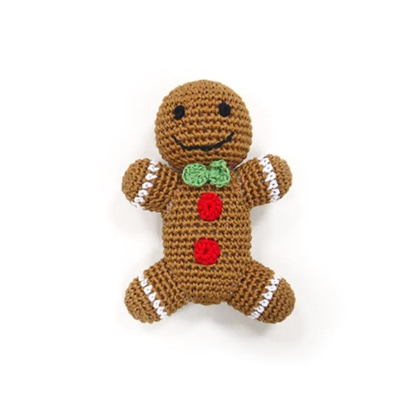 Gingerbread Man Knit Dog Toy