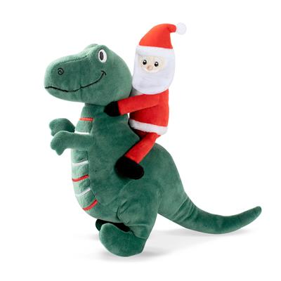 Santa Saurus Rex Plush Dog Toy