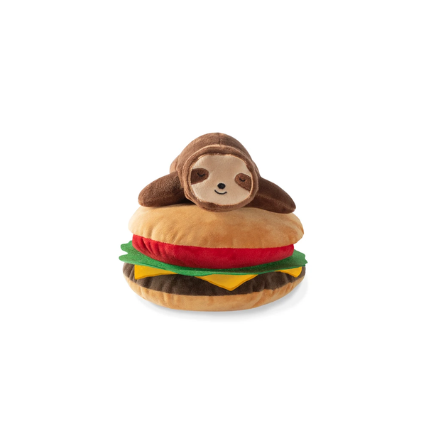 Sloth on Hamburger Dog Toy