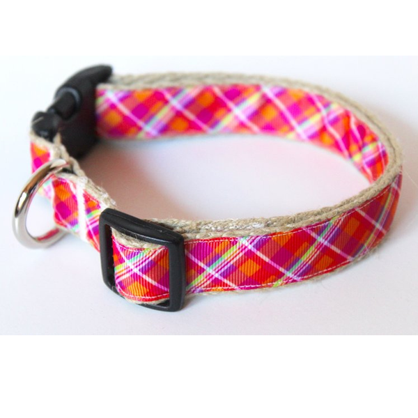 Pretty In Pink Plaid Metal Buckle Dog Collar and Lead