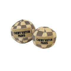Checkered Chewy Vuiton Plush Ball Dog Toy