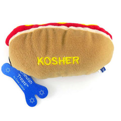 Kosher Hot Dog Plush Dog Toy