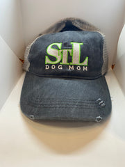 STL Dog Mom Gray & Lime Green Baseball Cap