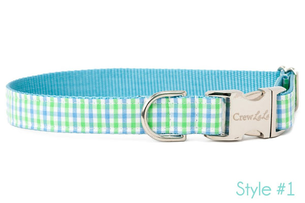 Lime & Blue Island Gingham Dog Collar