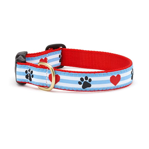 Paw Print Hearts Dog Collar